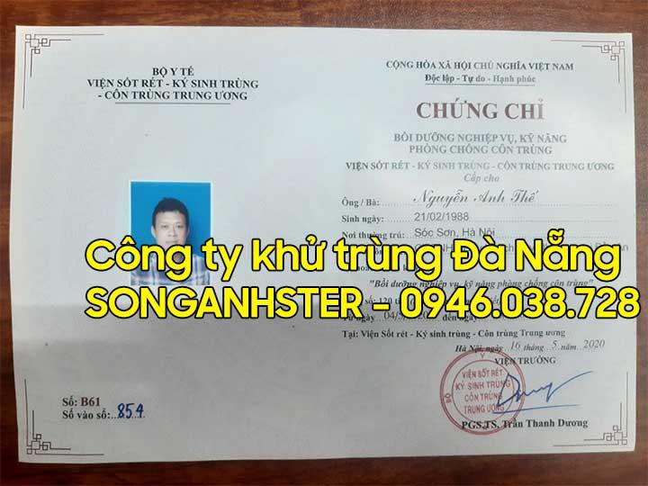 Chứng chỉ phun khử trùng diệt khuẩn tại Đà Nẵng
