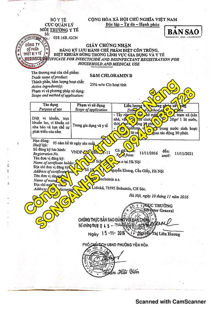 Chứng nhận đăng ký lưu hành Cloramin B của Bộ Y Tế